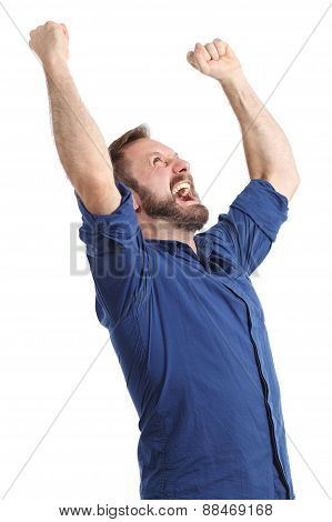 Euphoric Happy Man Raising Arms Isolated
