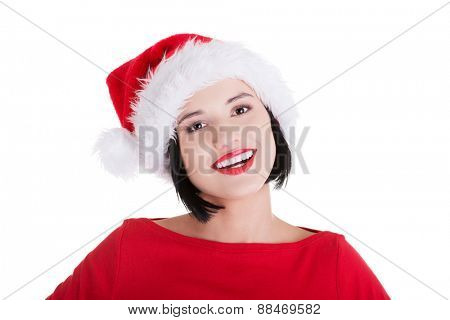 Portrait of happy woman in santa clothes.