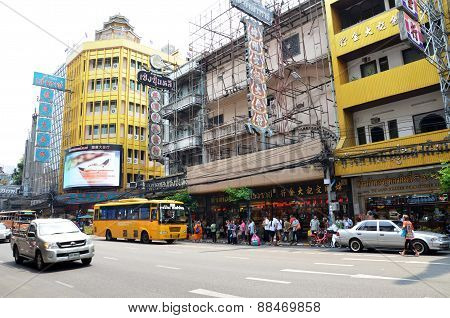 View Of A Busy Street In Chinatown In Bangkok