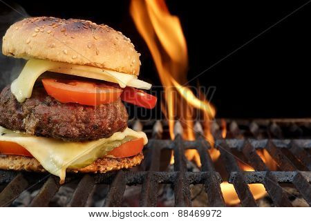 Homemade Bbq Beef Burger On The Hot Flaming Grill