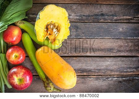 Healthy Eating On Wooden Background