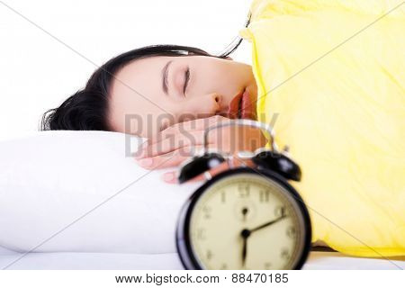 Young beautiful woman sleeping in bed.