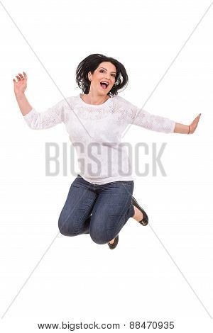 Jumping Cheerful Woman