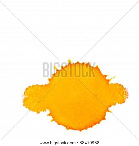 Abstract Orange Ink Stain On A White Background