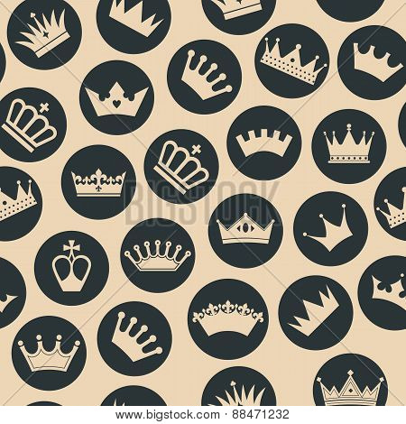 Retro seamless pattern of  crowns