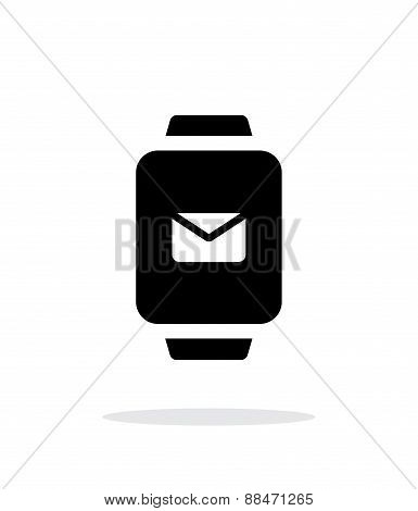 Mail in smart watch simple icon on white background.