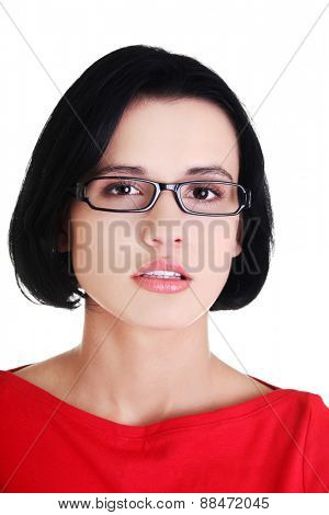 Portrait of young woman in eyewear.
