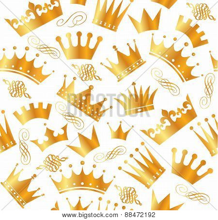 Retro seamless pattern of  gold crowns