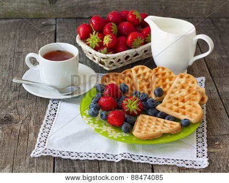 Morning Tea With Waffles, Milk And Fresh Berries