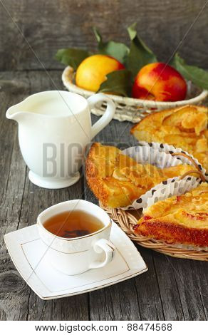 Breakfast With Homemade Peach Pie, Tea, Milk And  Fruit