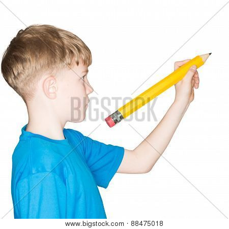child with a pencil in hand