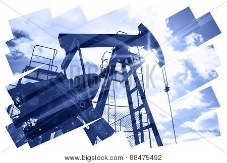Pump jack abstract composition background.