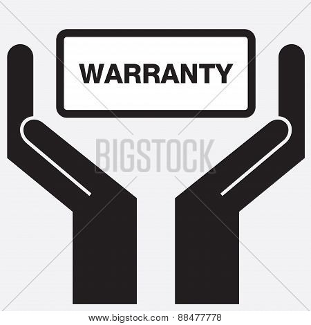 Hand showing warranty sign icon.