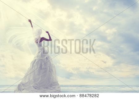Honeymoon Trip, Bride In Wedding Dress Over Blue Sky, Romantic Trave Concept