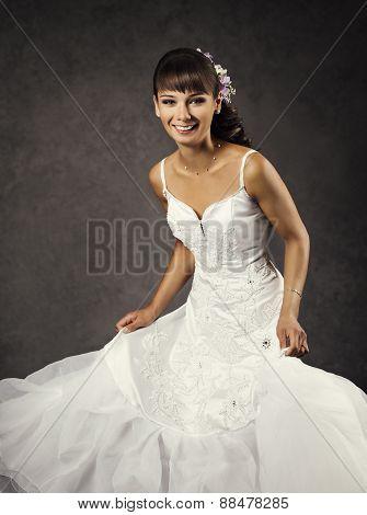 Dancing Funny Bride In Wedding Dress, Emotional Bridal Portrait, Happy Laughing Bride