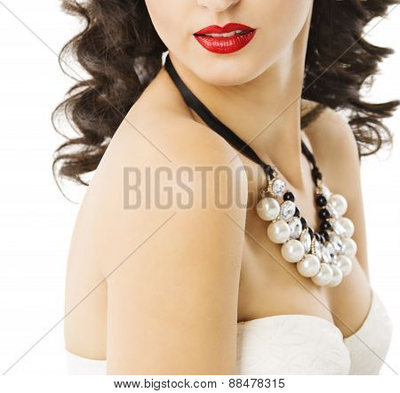Woman Pearl Jewelry Necklace Earrings, Sexy Girl Red Lips, Jewels Accessory