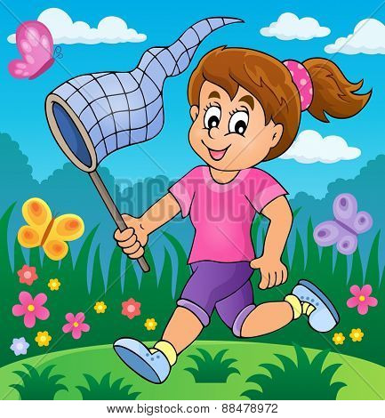 Girl chasing butterflies theme image 2 - eps10 vector illustration.