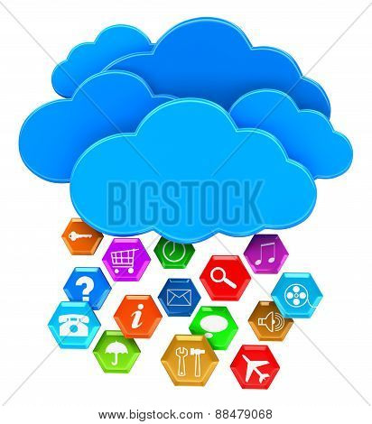 Cloud and pictograms (clipping path included)