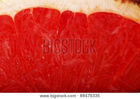 Slice of fresh juicy grapefruit.
