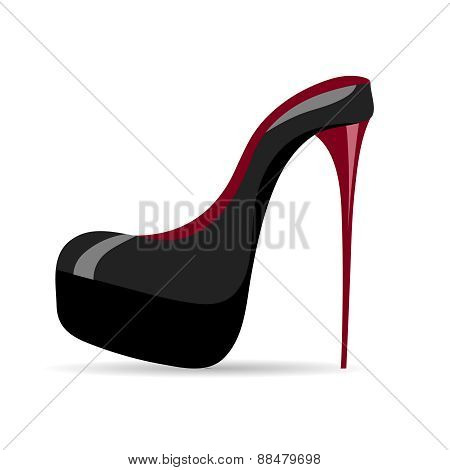Beautiful Black High-heeled Shoes On A White Background