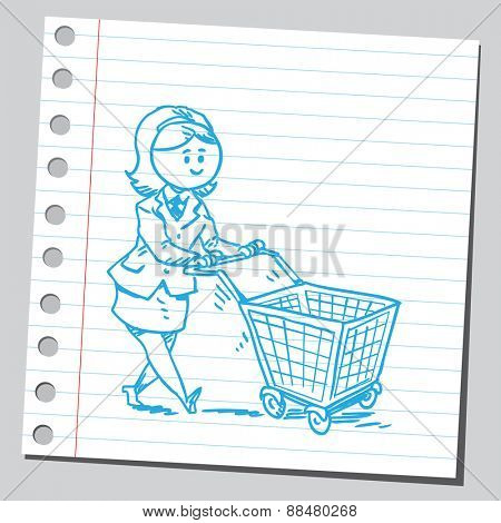 Businesswoman pushing shopping cart