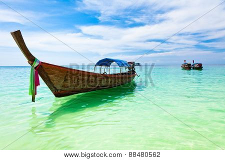 Traditional thai boats on the beach, Koh Lipe, Thailand