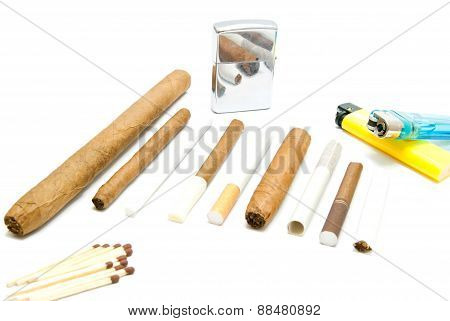Lighters, Matches And Cigarettes On White