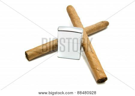 Two Cigars And Lighter On White