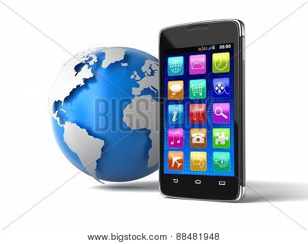 Touchscreen smartphone and Globe (clipping path included)