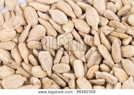 Peeled sunflower seeds.