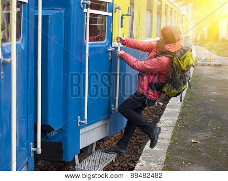 The Girl Jumps Into The Train.
