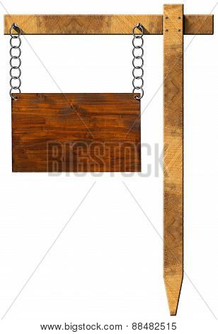 Wooden Sign With Chain And Pole
