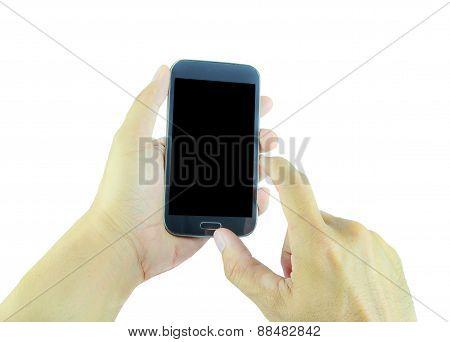 Hand Holding Smart Phone On White Background