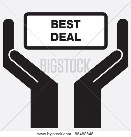 Hand showing best deal sign icon.