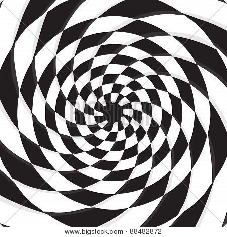 black hole on twirl checkerboard