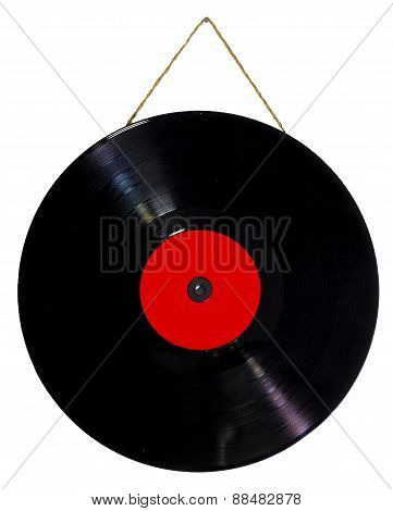 vinyl 33 rpm hanging with string as a picture