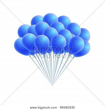 Vector bunch birthday or party blue balloons