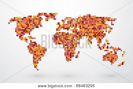 Colored Map Of The World From Small Squares