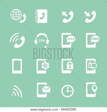 Simple set of phones related vector  white icons for your site or application.