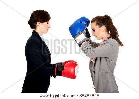 Beautiful two businesswomen with boxing gloves.
