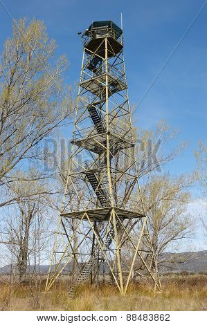 Fire Detection Watch Tower Surruonded By Deciuous Trees In Spain