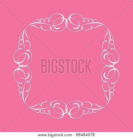Calligraphic frame and page decoration. illustration white background