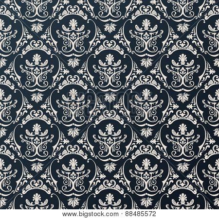 Seamless wallpaper background floral vintage black