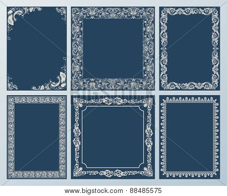 frames elegant set. Ornament and vintage scroll elements black
