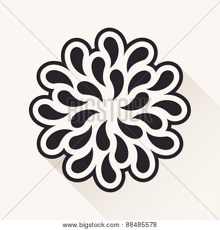 white vintage flower. Silhouette plants drops black emblem