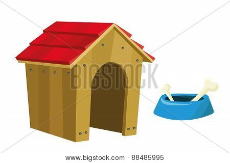 Dog house and food bowl