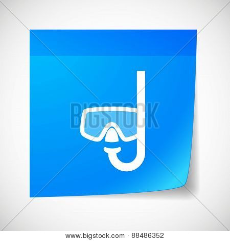 Sticky Note Icon With A Diving Goggles