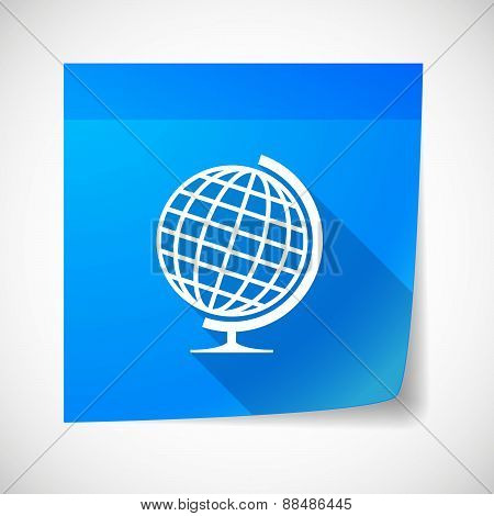 Sticky Note Icon With A World Globe