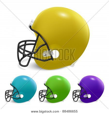 American Football Helmets Isolated On White Background.