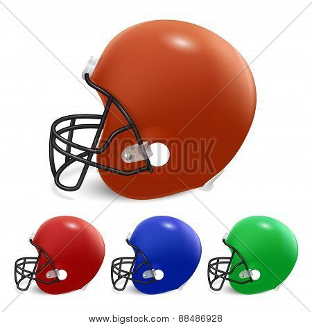 Vector American Football Helmets Isolated On White.